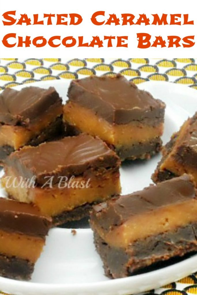 Salted Caramel Chocolate Bars are irresistible ! Gooey crust, gooey caramel with a smooth Chocolate glaze !
