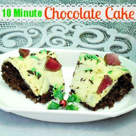 10 Minute Chocolate Cake www.withablast.net