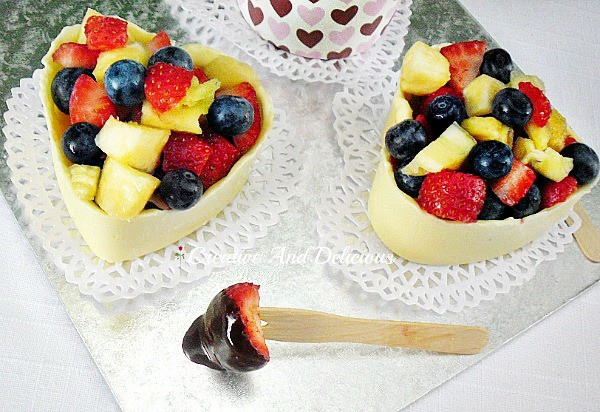 Coffee Chocolate Dip and Fresh Fruit for Valentines Day www.withablast.net