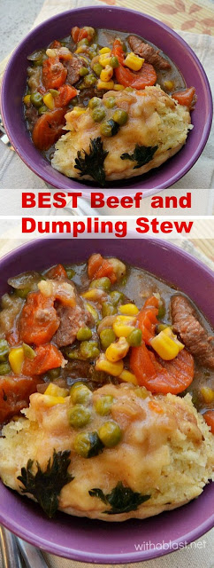 Comfort food at it's best - hearty Beef stew with a thick sauce and featherlight Dumplings