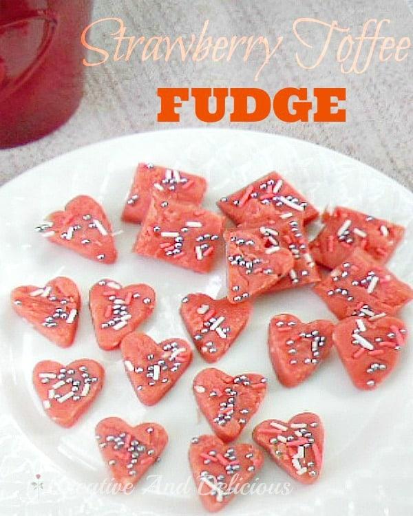 Strawberry Toffee Fudge for Valentines day www.withablast.net