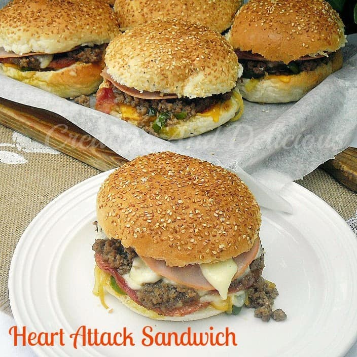 Heart Attack Sandwich ~ Perfect weekend {or weekday} food for a crowd, made quickly and easily ! #Sandwich www.withablast.net