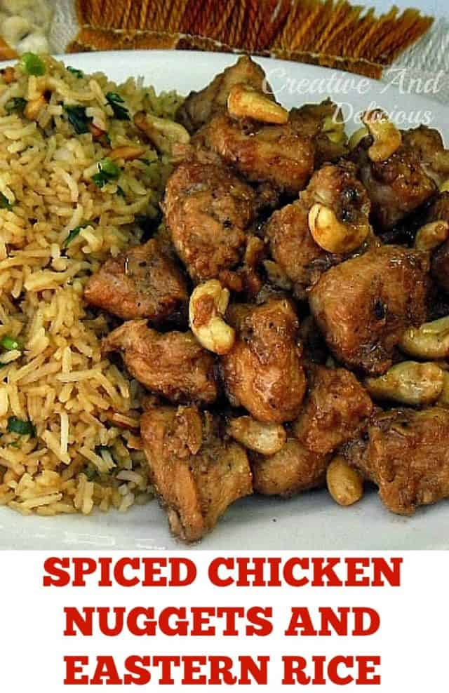 Very tasty Spiced Chicken Nuggets and Eastern Rice is the ideal meal to serve for dinner (recipes for both !) - quick, easy and packed with flavor ! #SpicedChicken #ChickenNuggets #EasternRice