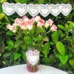 Valentines Doily Banner and Vase