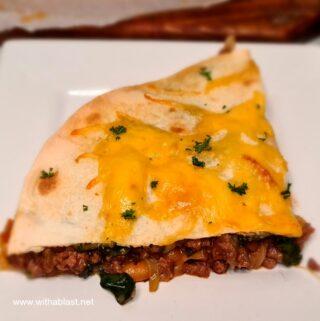 Beef Mozzarella Spinach Quesadillas