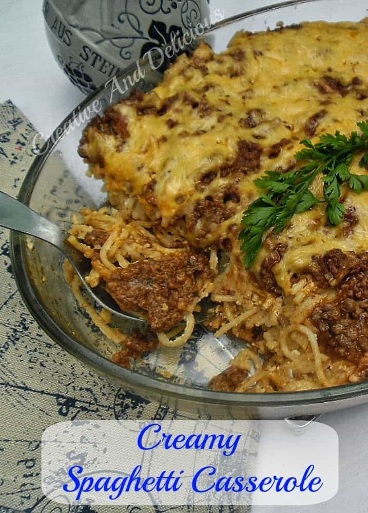 Creamy Spaghetti Casserole is a simple yet delicious, pasta casserole, which is very filling. With ground beef, pasta sauce, ricotta cheese and more.