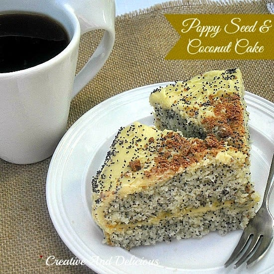 Poppy Seed and Coconut Cake ~ Delicious moist cake with a White Chocolate filling and Icing #CakeRecipe #WhiteChocolateIcing #PartySnacks #TeaTimeTreats