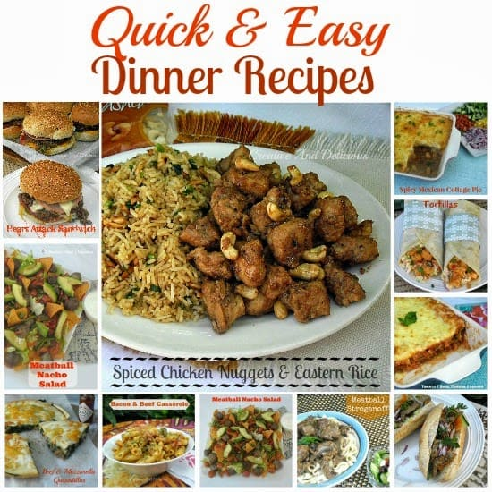 We all need Quick and easy Dinner recipes from time to time ! In this collection we have pasta dishes, filling sandwiches and more #QuickDinnerRecipes #EasyDinnerRecipes