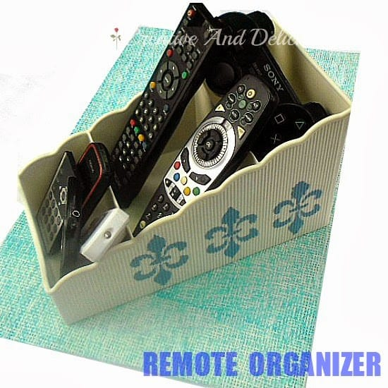 Remote Organizer ~ Re-Purpose an old soup packet holder into a nifty organizer for all your remotes #Storage #Organizer #Recycling #RePurpose
