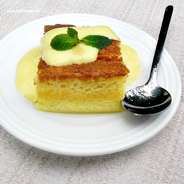 This Zesty Citrus Pudding slices recipe has a light sauce at the bottom and soft cake on top - the ideal comfort dessert during cold weather !