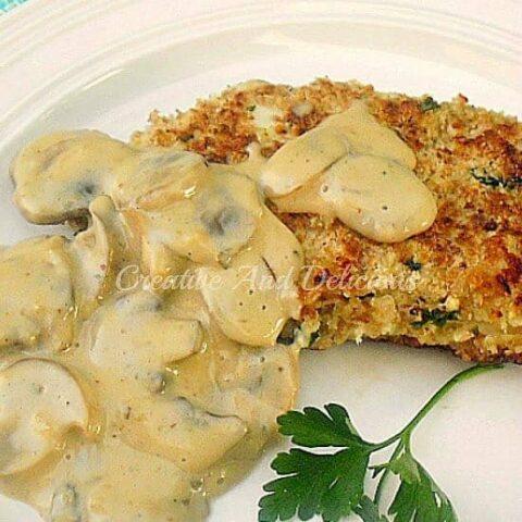 Lemon Chicken Schnitzel with Low-Fat Mushroom Sauce
