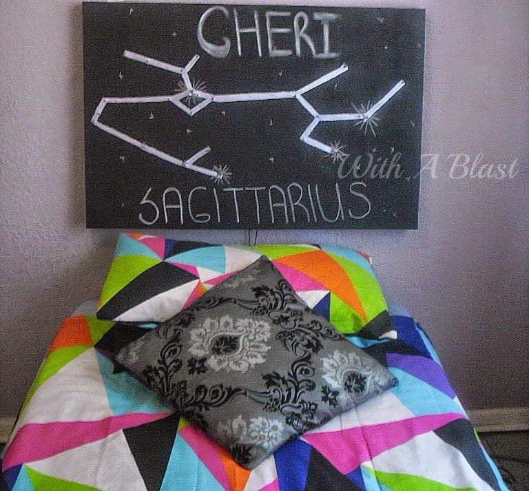 Stretch Canvas Chalk Headboard ~ Easy DIY Chalk Headboard depicting a star sign and fairy lights used to light up ! #DIY #Headboards #ChalkProjects