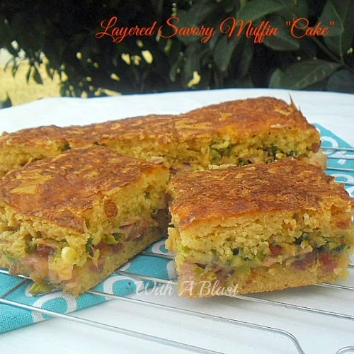 """Layered Savory Muffin """"Cake"""" ~ One giant Muffin stuffed with Bacon, Ham Cheeses and more ! #MuffinMix #SavoryPie"""