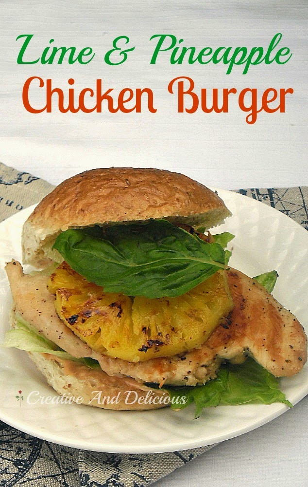 Low-Fat Grilled Pineapple and Chicken on a burger is a winner with 1000 Island Dressing instead of a rich mayo sauce
