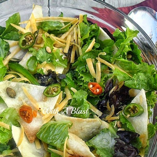 Everything nice and spicy in this Mad Dog Salad ! Crunchy Tortilla chips, herbs, lettuce, nuts, seeds and so much more