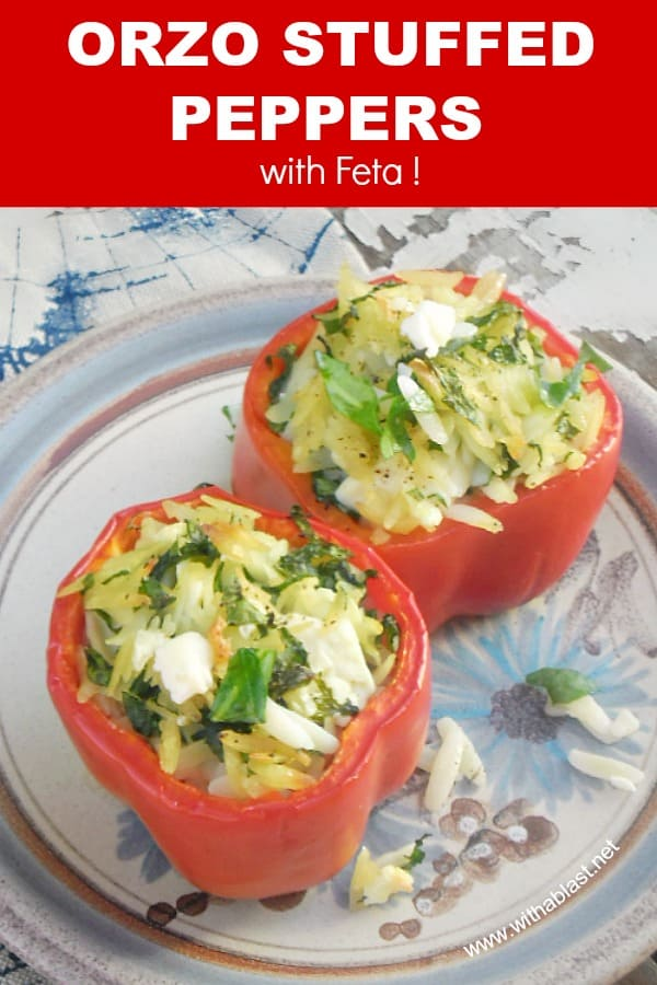 Orzo Stuffed Peppers with Feta is perfect to serve as a side dish, and very impressive as an appetizer - all standard pantry ingredients #StuffedPeppers #Vegetarian #VegetarianRecipes #Appetizer #Side Dish