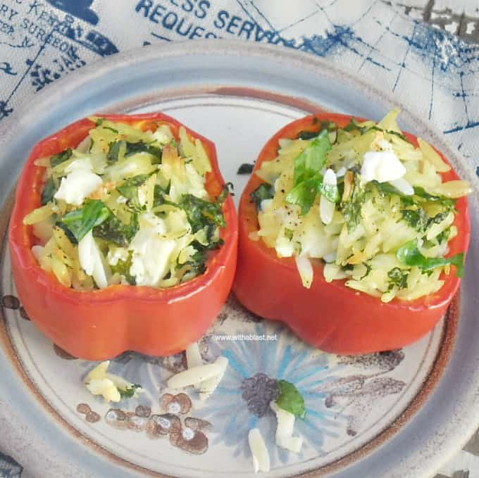 Orzo Stuffed Peppers with Feta is perfect to serve as a side dish, and very impressive as an appetizer - all standard pantry ingredients