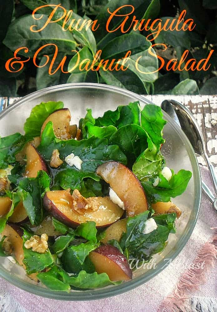 Plum Arugula and Walnut Salad