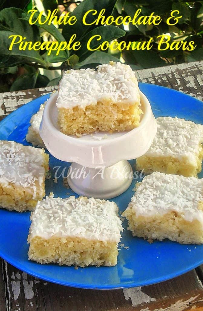 Nobody can resist these chewy White Chocolate, Pineapple Coconut Bars and the longer they stand the better !