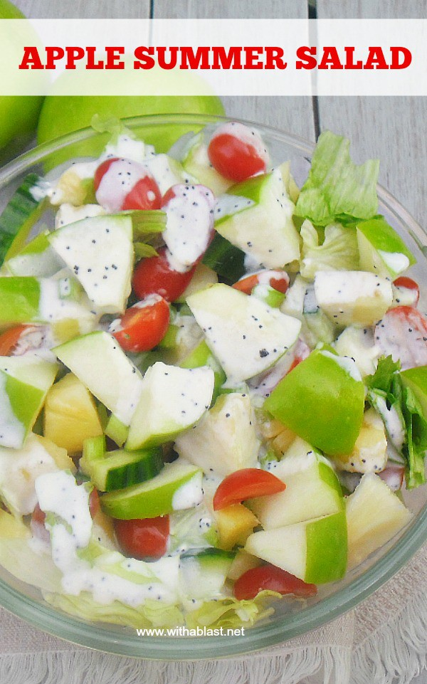 Apple Summer Salad is a refreshing, delicious salad with Apple, Pineapple and more and drizzled with a light Poppy Seed dressing #SummerSalad #AppleSalad #HealthySalad