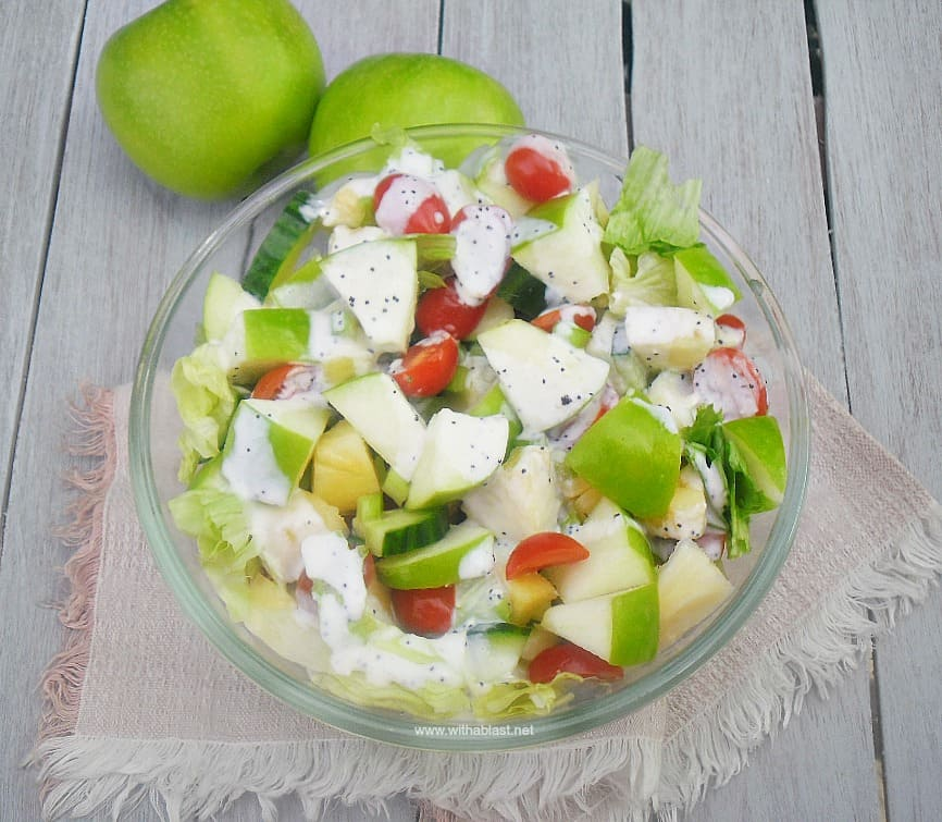 Apple Summer Salad is a refreshing, delicious salad with Apple, Pineapple and more and drizzled with a light Poppy Seed dressing