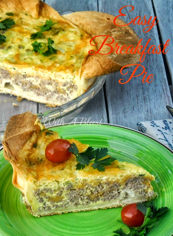 Easy Tortilla Breakfast Pie ~ Crispy crust made of layered Tortillas with a hearty filling of Ground Beef and Eggs ~ Breakfast or Dinner ! #BreakfastPie #EasySavoryPie #QuickDinnerPie