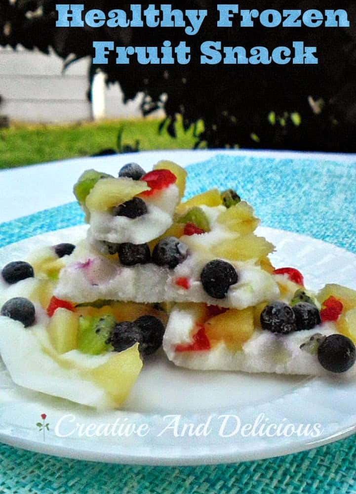 Healthy Frozen Snack ~ Cool down with this delicious bark-like, low-fat, frozen fruit snack instead of a rich ice-cream #HealthySnack #FrozenSnack #DogFriendlySnack