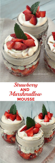 Rosewater infused Strawberries topped with a Liqueur based Marshmallow topping, all in a jar ~ simple, but this Summer's most decadent dessert !