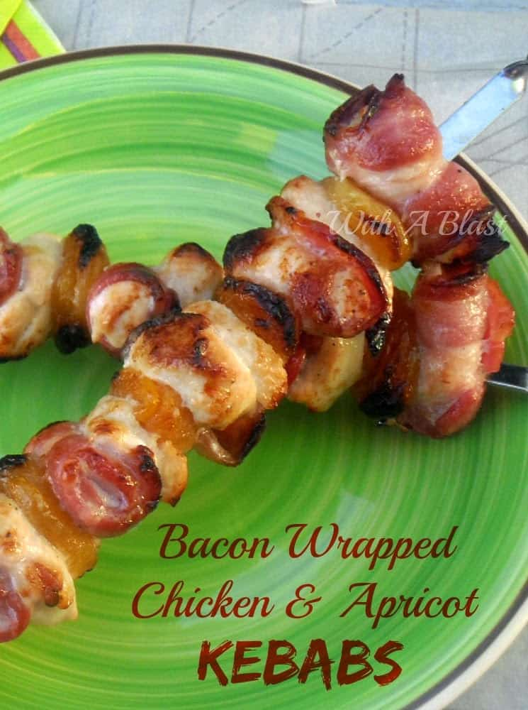 Bacon Wrapped Chicken and Apricot Kebabs ~ Tangy, sweet/sour/salty combination of Bacon, Chicken and Apricots make this kebab a winner at any BBQ #Kebabs #ChickenKebabs #BBQ #Grilling