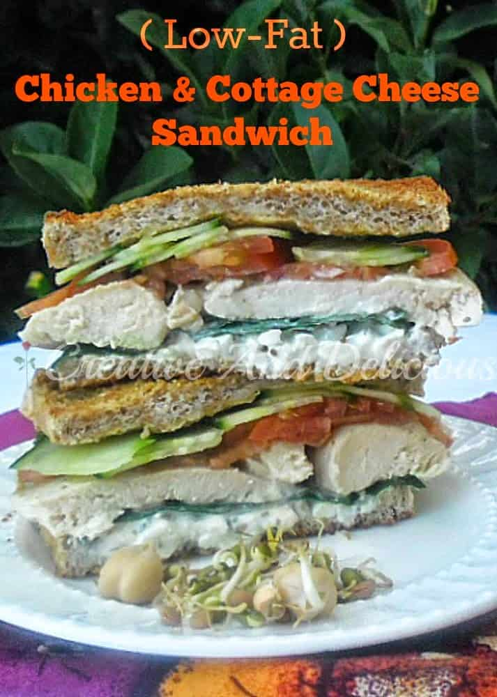 Chicken and Cottage Cheese Sandwich ~ Healthy and delicious Chicken Sandwich {no mayo!} #Sandwich #ChickenSanwich #Healthy