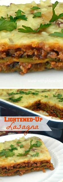 "Enjoy full flavor Lasagna with this Low-fat option and some ""hidden"" veggies Freezer friendly recipe ! #Lasagna #LowFat #LowFatLasagna"