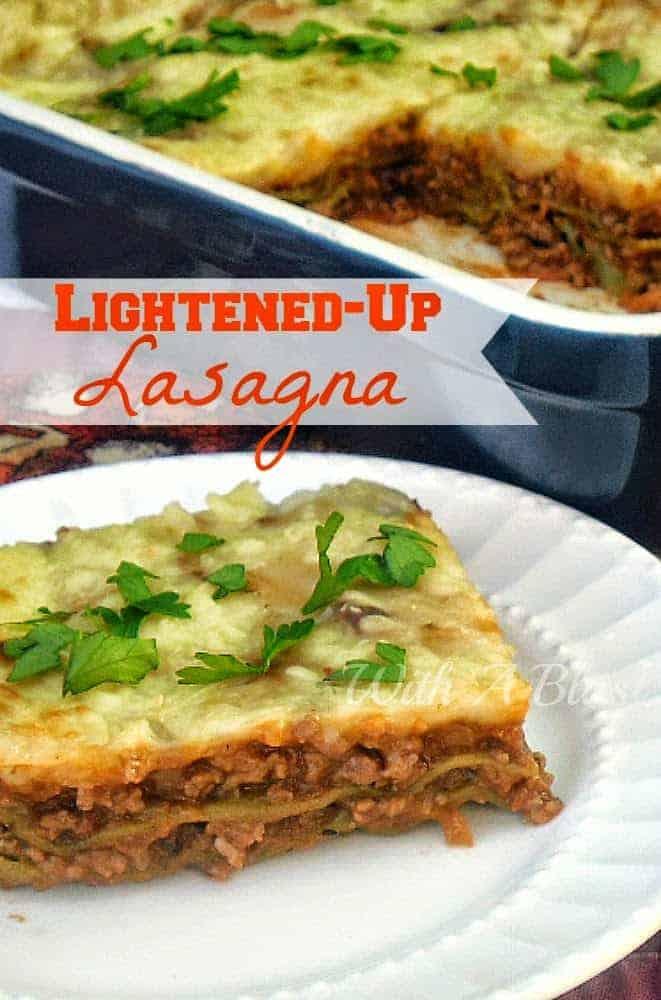 "Enjoy full flavor Lasagna with this Low-fat option and some ""hidden"" veggies #Lasagna #LowFat #LowFatLasagna"