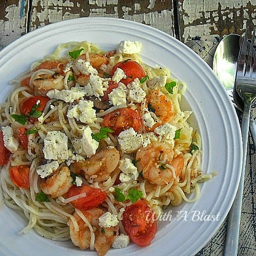 If you like Mediterranean food - you will LOVE this quick and easy Mediterranean Shrimp Pasta dish. Delicious and also low in fat dinner recipe