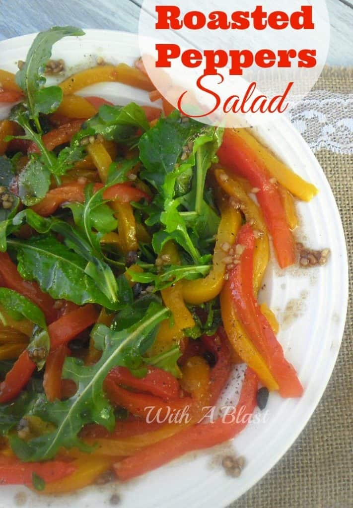 Roasted Peppers Salad ~ Tenderly roasted Bell Peppers with Herb Leaves Salad #Salads #BellPepperSalad
