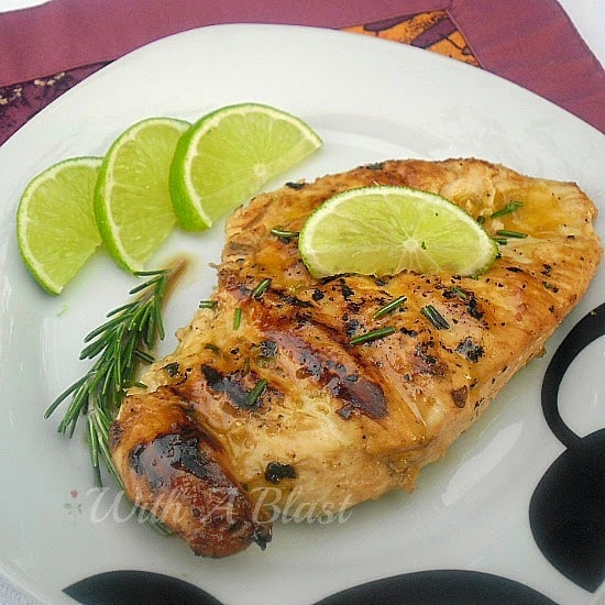 Rosemary Lime Grilled Chicken ~ Juicy, tender Chicken marinated in Lime and Rosemary and grilled perfectly #BBQ #LowFat #Healthy #Grilled