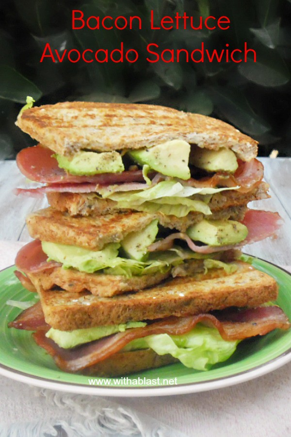 Bacon Lettuce Avocado Sandwich also known as The B.L.A. is a simple, but delicious sandwich, loaded with Bacon, Lettuce and Avocado and perfect for lunch or brunch ! #Healthy #Sandwich #BaconSandwich