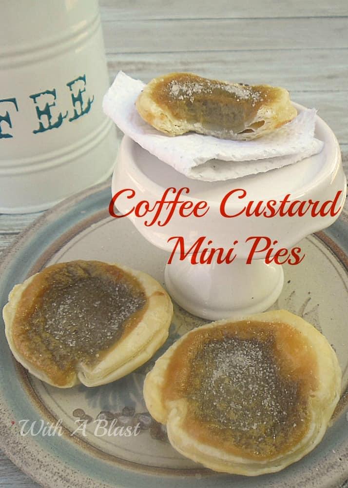 Coffee Custard Mini Pies ~ Creamy, coffee custard in crisp pastry with a cinnamon topping ~ quick & easy recipe #CoffeeTreats #SweetTreats #Dessert #MiniPies #SweetPies