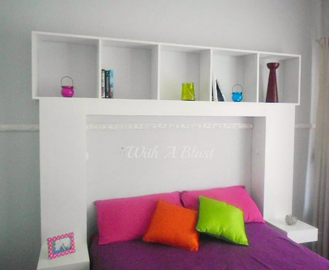 DIY Headboard with Built-In Lights which casts a lovely glow, is an easy project to make yourself and is suitable for a teenager's bedroom or an adult bedroom. #DIY #Headboard #HeadboardWithLights