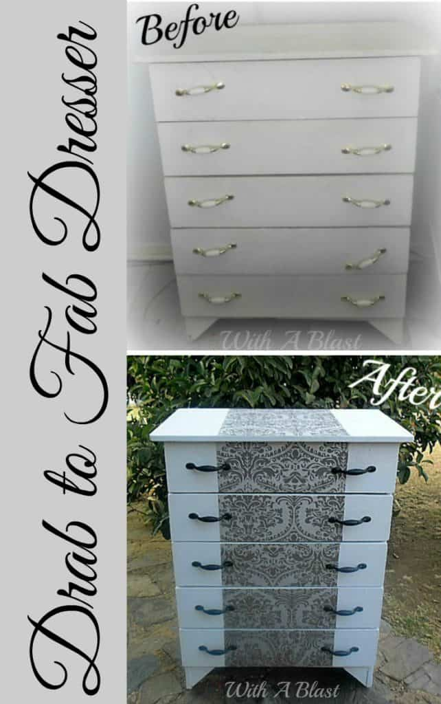 Drab to Fab Dresser ~ Out with the old 90's look and in with Fab-ness ! #Makeover #DresserMakeover #LeftoverWallPaper #Upcycling
