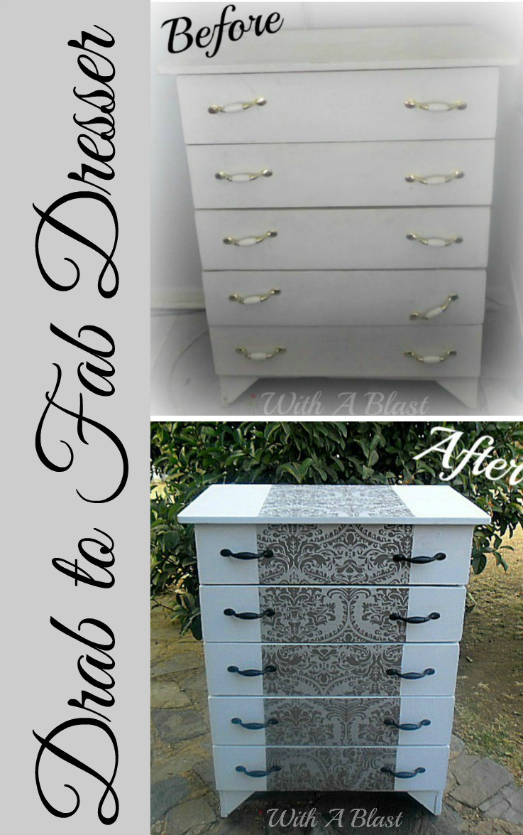 How to turn an old, tired looking dresser from a Drab to Fab Dresser ! Simply by using paint, spraypaint and some leftover wall paper ! #Makeover #DresserMakeover #LeftoverWallPaper #Upcycling