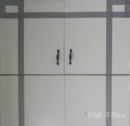 "Framed Closet Doors {Duct Tape Crafts} ~ Quick, easy and inexpensive way to ""frame"" boring closet doors with #DuctTape #Crafts #DIY #Framing #AlternativeFraming"