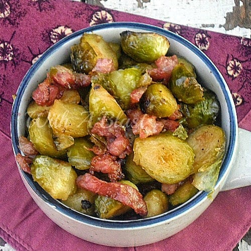 Honey Balsamic Roasted Brussels Sprouts ~ Deliciously caramelized Brussels Sprouts with added Bacon ~ will be everyone's favorite side ! #SideDish