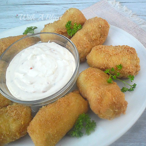 Potato and Chicken Croquettes with Sweet Chili Cheese Dip ~ Perfect to use up leftover mashed potatoes and chicken ~ recipes for both the #Croquettes and the #Dip #ChickenCroquettes #ChickenSnack #LeftoverPotatoes #LeftoverChicken