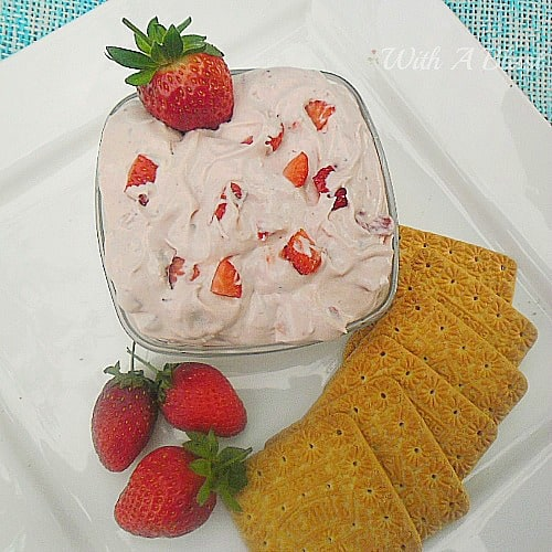 Strawberry Cheesecake Dip ~ 4 Ingredients ... 3 minutes ... some chilling time .. and you have a delicious dip for biscuits, cookies, wafers and fruit ! #Dips #StrawberryDip #CheesecakeDip