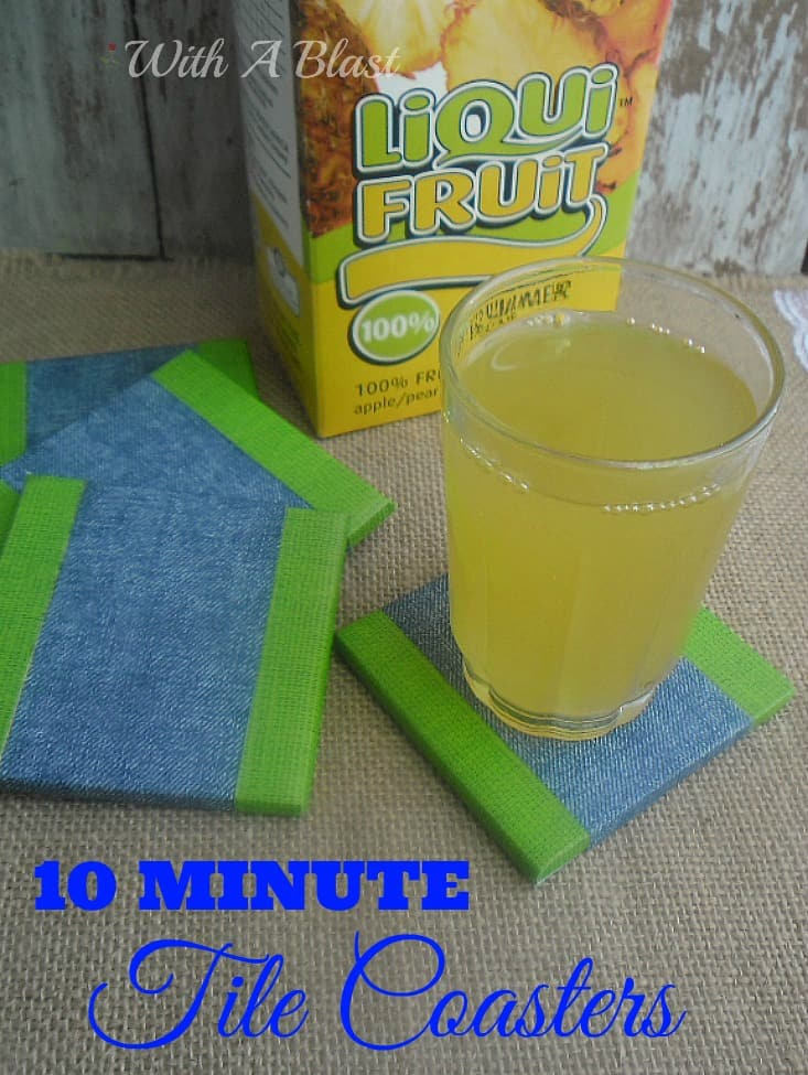10 Minute Tile Coasters are so quick and easy to make - waterproof and strong Coasters with Duct Taped tiles ! #DuctTape #Coasters #Crafts #DIYCoasters #KidsCrafts