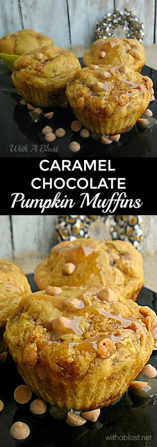Caramel Chocolate Pumpkin Muffins is deliciously moist, packed with Pumpkin, Chocolate Chips with a Caramel drizzle #PumpkinMuffins #Muffins #Breakfast #Brunch