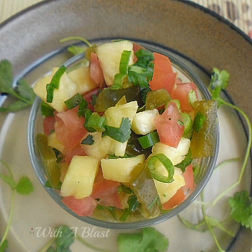 Pineapple and Jalapeno Salsa ~ Kid friendly and such a versatile Salsa to serve with hotdogs, sausage rolls, burgers or as a small side salad #Salsa #SideSalad #SideDish #HotdogTopping www.WithABlast.net