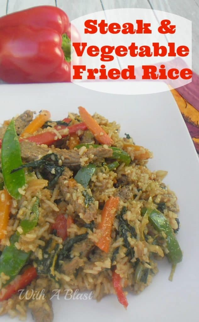 Steak and Vegetable Fried Rice ~ Use your leftover Rice and this delicious meal is ready in minutes #FriedRice #StirFry #QuickDinner