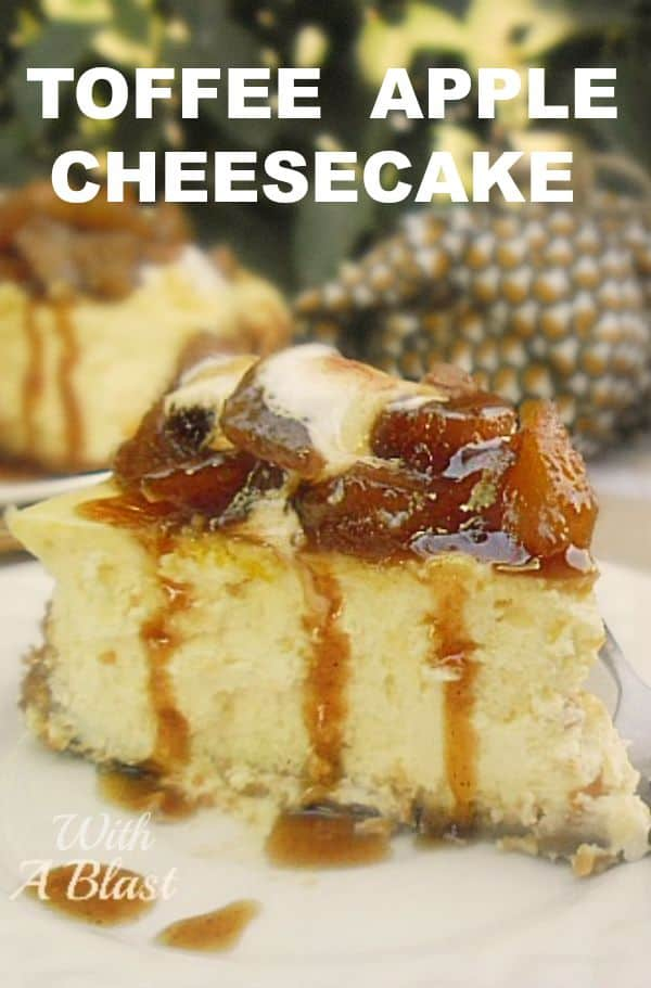 This Toffee Apple Cheesecake is so simple to make - an old-fashioned, basic baked cheesecake with the most decadent sweet and sticky Apple topping #AppleCheesecake #ToffeeApple #AppleDessert #FallCheesecake #ToffeeAppleTopping