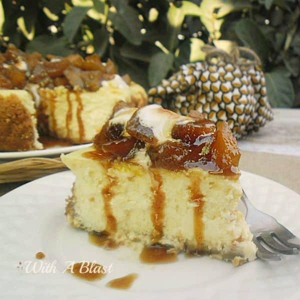 This Toffee Apple Cheesecake is so simple to make - an old-fashioned, basic baked cheesecake with the most decadent sweet and sticky Apple topping